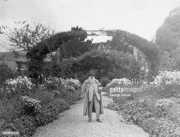Picture shows French artist Claude Monet standing in his garden at Giverny France Undated photograph BPA#2 2125
