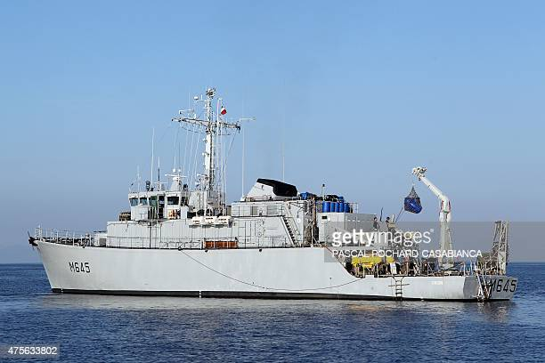A picture shows French minesweeper Orion before its crew detonated a World War IIera bomb of the US air force during a demining operation in Bastia...