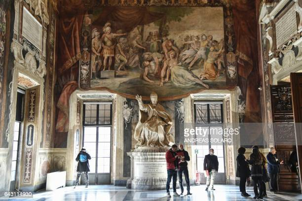 """Picture shows frescoes during the inauguration of the """"Hall of the Horatii and Curiatii"""" following its restoration, on February 20, 2017 at the..."""