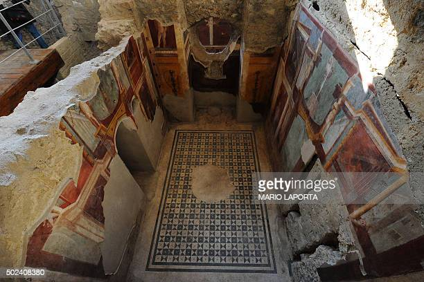 A picture shows frescoes in the Criptoporticus Domus one of six restored domus at UN World Heritage Site Pompeii on December 24 2015 during the...