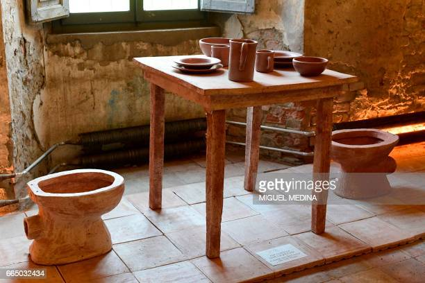A picture shows furnitures and tableware made from 'Merdacotta' on march 28 2017 at the Shit Museum in the Castelbosco castle of Gragnano Trebbiense...