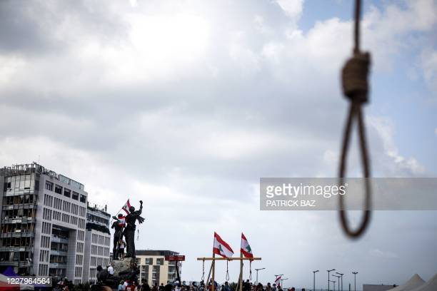 Picture shows gallows hung by Lebanese protesters in downtown Beirut on August 8 following a demonstration against a political leadership they blame...