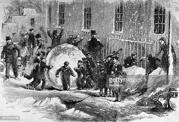Picture shows 'Gathering as it Goes' or The Monster Snowball Children playing in the snow making moster snowball undated engraving
