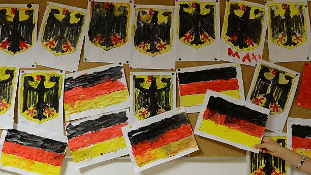 Picture Shows German Flags And National Symbols Painted By