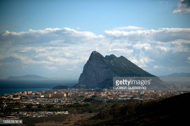 Picture shows Gibraltar Rock from La Linea de la Concepcion near the southern Spanish city of Cadiz on October 16 2018 Gibraltar has close to full...