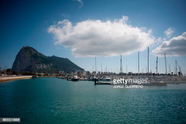 Picture shows Gibraltar Rock from La Linea de la Concepcion near the southern Spanish city of Cadiz on April 6 2017 Gibraltar today accused Spain of...