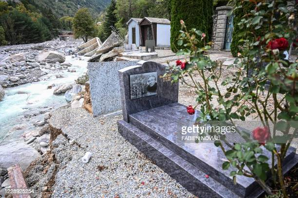 Picture shows graves in the partially washed away cemetery of Saint-Dalmas-de-Tende in south-east France, near the Italian border, on October 6 of...