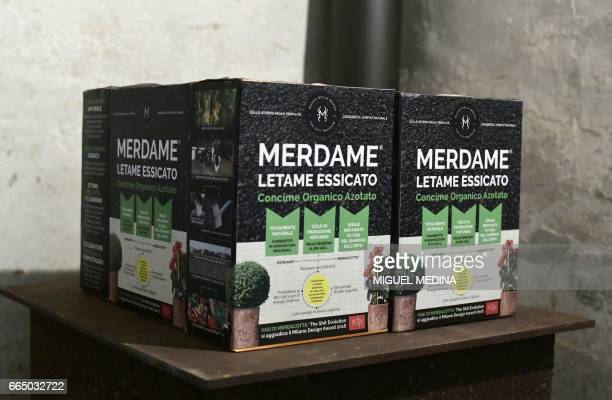 A picture shows green fertilizer 'Merdame' produced in the farm of the Shit Museum at the Castelbosco castle of Gragnano Trebbiense on march 28 2017...