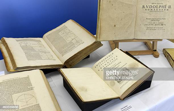 Picture shows historical books during a press conference in Munich southern Germany on February 13 2015 The German prosecutor will return more than...