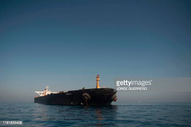 Picture shows Iranian supertanker Grace 1 off the coast of Gibraltar on August 15, 2019. - Gibraltar's Supreme Court ruled today to release an...