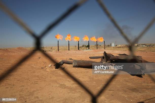 A picture shows Iraq's Bai Hassan oil field west of Kirkuk on October 17 2017 Iraqi forces took control of the two largest oil fields in the disputed...