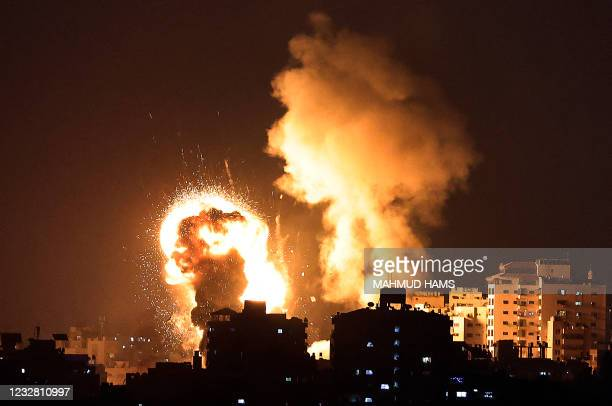 Picture shows Israeli air strikes in the Gaza Strip, controlled by the Palestinian Islamist movement Hamas, on May 10, 2021. - Israel launched deadly...