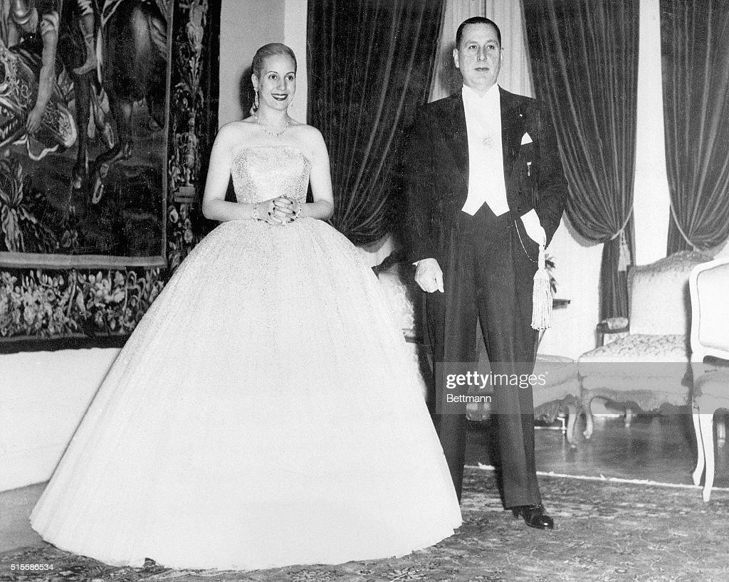 Portrait Juan Peron And Wife Evita : News Photo