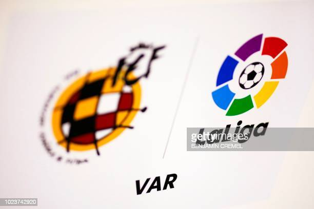 A picture shows logos of the Spanish Football Federation the Spanish League and the Video assistant referee during the Spanish league football match...