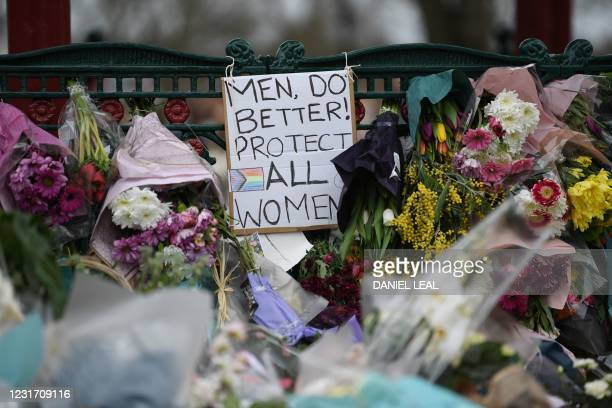 Picture shows messages and floral tributes to honour Sarah Everard, the missing woman who's remains were found in woodland in Kent, at the bandstand...