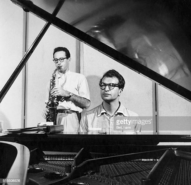 Picture shows musicians Dave Brubeck and Paul Desmond performing together. Undated photo circa 1940s. BPA2# 2644.