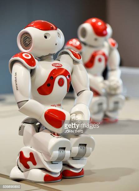 A picture shows Nao's robot Zora before its presentation on June 13 2016 at the CHR Citadel hospital centers in Liege The robot Nao is used as tool...
