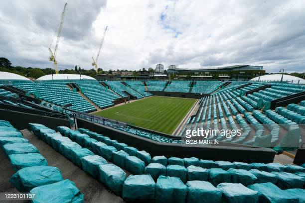 Picture shows No. 2 Court overlooking Centre Court and the construction of the new indoor courts on Somerset Road at the All England Lawn Tennis Club...