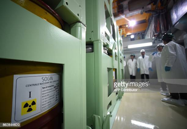 A picture shows nuclear waste inside a storage room of the Garigliano Nuclear Power Plant located at the outskirts of Sessa Aurunca 160km southern...