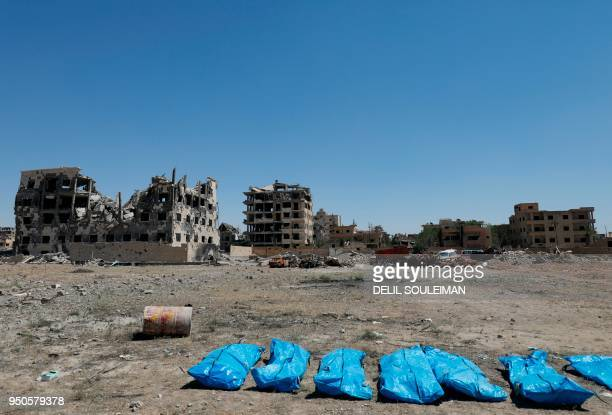 TOPSHOT A picture shows on April 23 2018 bodies that have been found in a mass grave in the former Islamic State group stronghold of Raqa in Syria...