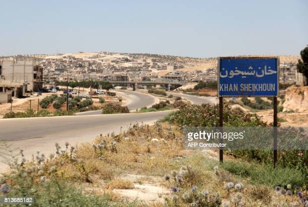 A picture shows on July 12 2017 the entrance of Khan Sheikhun a rebelheld town in the northwestern Syrian Idlib province 100 days following a...