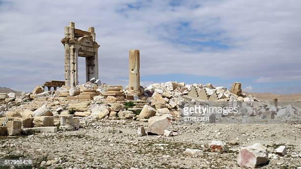A picture shows on March 29 2016 the remains of the Temple of Bel in the historical city of Palmyra after ir was blown up by Islamic State group...