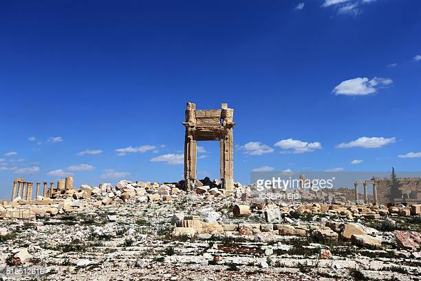 TOPSHOT A picture shows on March 31 2016 the remains of Temple of Bel's Cella which was blown up by jihadists of the Islamic State group in the...