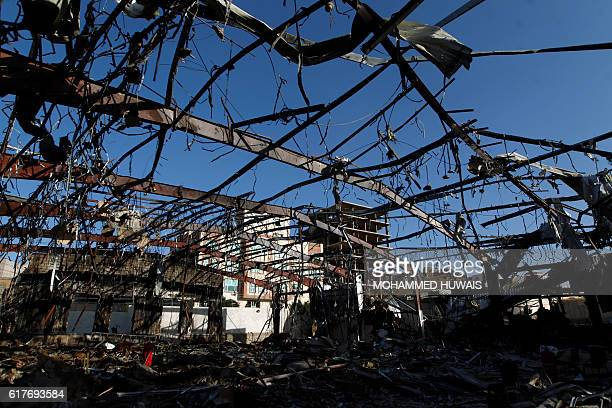 TOPSHOT A picture shows on October 24 2016 the site of an air raid on a funeral ceremony that killed 140 people and wounded 525 on October 5 The...
