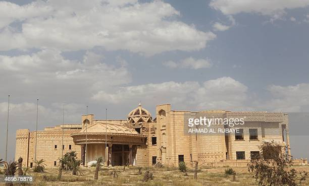 A picture shows one of executed Iraqi dictator Saddam Hussein's palaces in his hometown of Tikrit 160 kilometres north of Baghdad on April 12 2015...