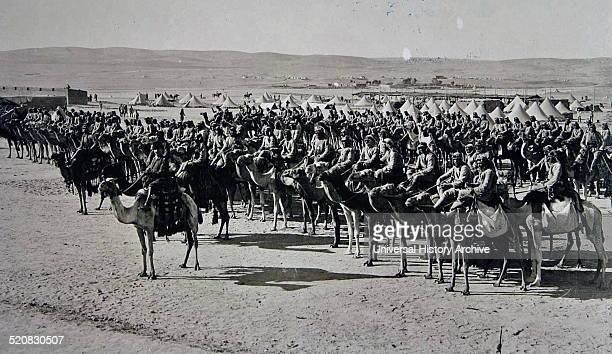 Picture shows Ottoman soldiers mounted on camels during the First World War, preparing to attack the British forces. 1917 Palistine.