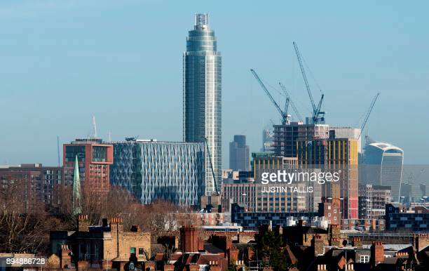 A picture shows part of the skyline of London on December 18 2017 the new US Embassy in Embassy Gardens in southwest London along with The Tower at...