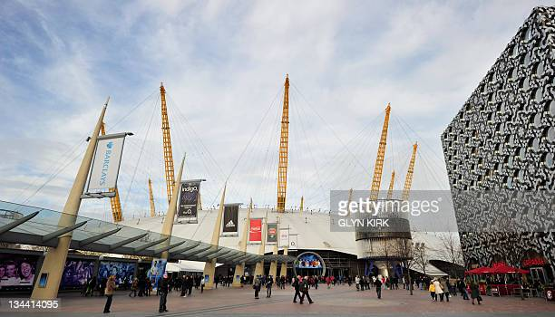 A picture shows people walking outside the front entrance of the O2 Arena in London on November 26 2011 The O2 is scheduled to be the venue for...