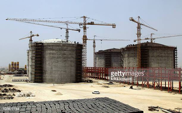 A picture shows phase 17 and 18 of South Pars gas field development in the southern Iranian port town of Asaluyeh on July 19 2010 as a top official...