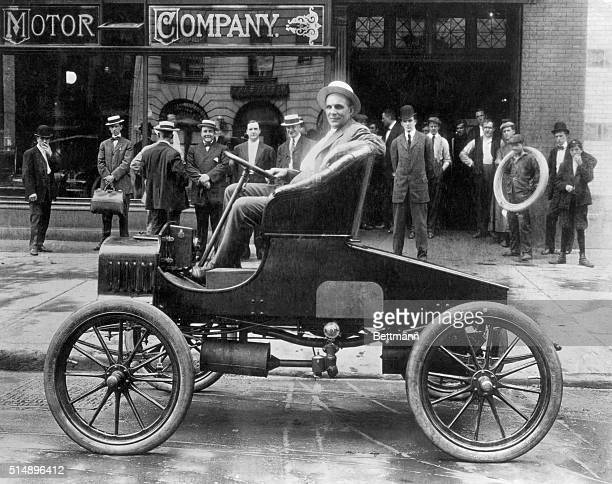 Picture shows pioneer Henry Ford seated in one of his automobiles made during the early 1900s Undated image circa 1920s