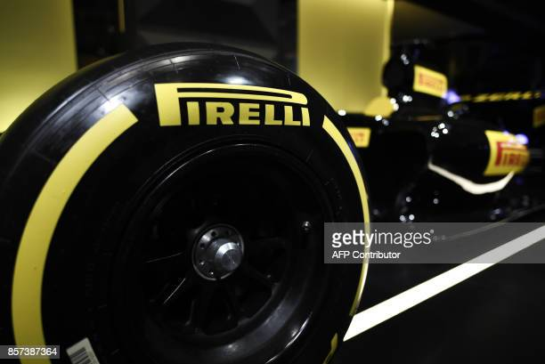 A picture shows Pirelli tires during a ceremony to mark the comeback of Italian tire maker Pirelli at Milan's stock on October 4 2017 Pirelli an icon...