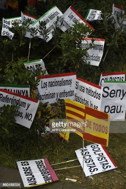 Picture shows placards used during a demonstration called by Catalan Civil Society under the motto 'Catalonia yes Spain too' in Barcelona on October...