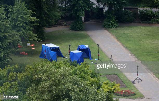 Picture shows police tents and equipment at the scene of a fatal stabbing incident that is being treated as terrorism in Forbury Gardens park in...