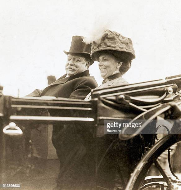 Picture shows President William H. Taft, riding in a convertible with his wife, Helen Herron, seated at his side. Undated photo circa 1910s.