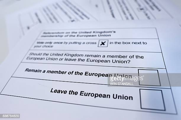 A picture shows printed examples of what an EU referendum ballot paper is expected to look like downloaded from the Stockton on Tees Borough Council...