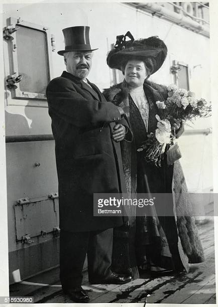 Picture shows producer Oscar Hammerstein and Grand opera singer Mme Letrazin in a full length photo on board a ship Undated photo