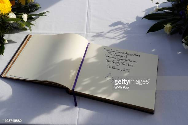 Picture shows Queen Elizabeth II's signature on the visitors book during her visit to Wolferton Pumping Station, where she officially opened the new...