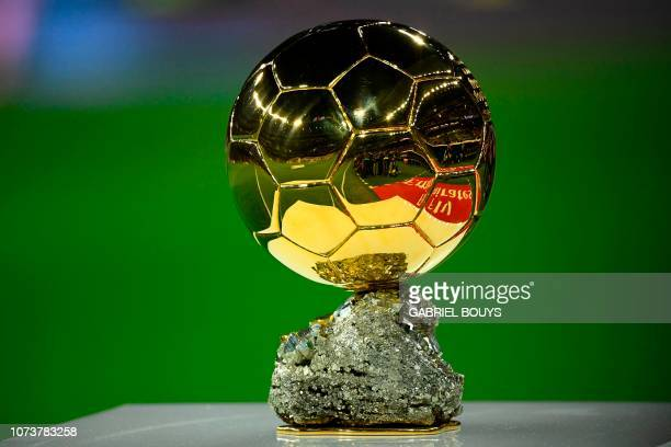 Picture shows Real Madrid's Croatian midfielder Luka Modric's Ballon d'Or trophy before the Spanish League football match between Real Madrid and...