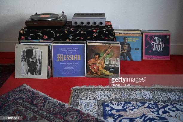 A picture shows records known to have been in the collection of Jimi Hendrix on display inside the Hendrix Flat a London flat where legendary US...