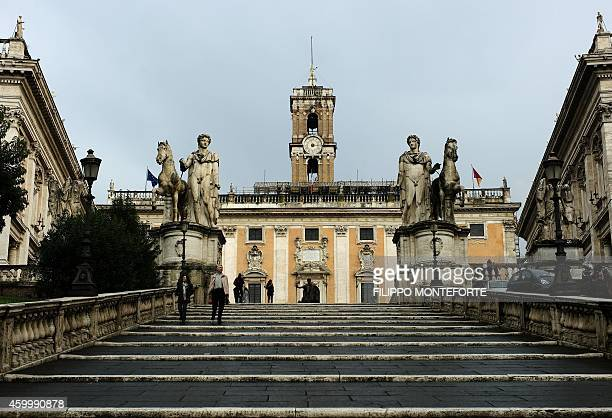 A picture shows Rome's city hall 'Campidoglio' on December 5 2014 in Rome AFP PHOTO / FILIPPO MONTEFORTE