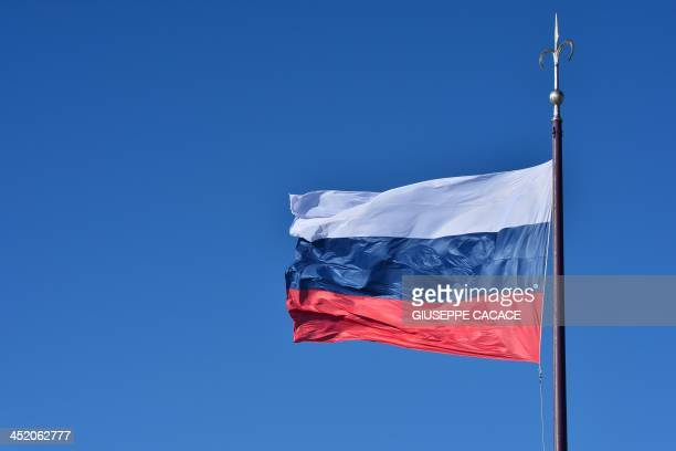 A picture shows Russia's national flag on November 26 2013 in Trieste AFP PHOTO / GIUSEPPE CACACE