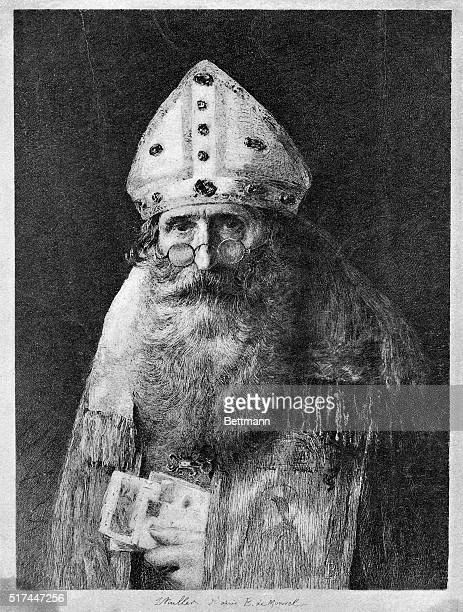 Picture shows Saint Nicholas from a etching by Muller after a painting by Boutet de Monvel Undated