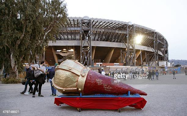 A picture shows sculpture representing a giant horn which is a traditional Napolitan talisman before the UEFA Europa League round of 16 second leg...