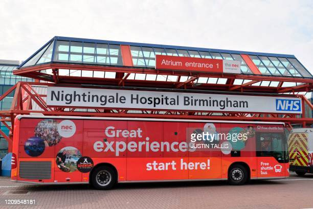 A picture shows signage outside the Nightingale Hospital Birmingham being created inside the Birmingham National Exhibition Centre in Birmingham...