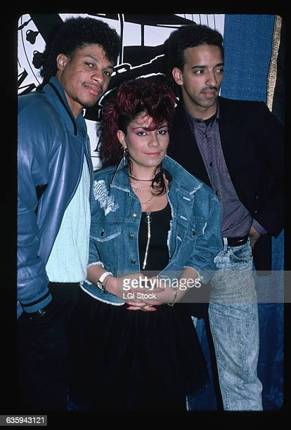 1987 Picture shows singer Lisa Lisa with members of her band 'Lisa Lisa the Cult Jam'