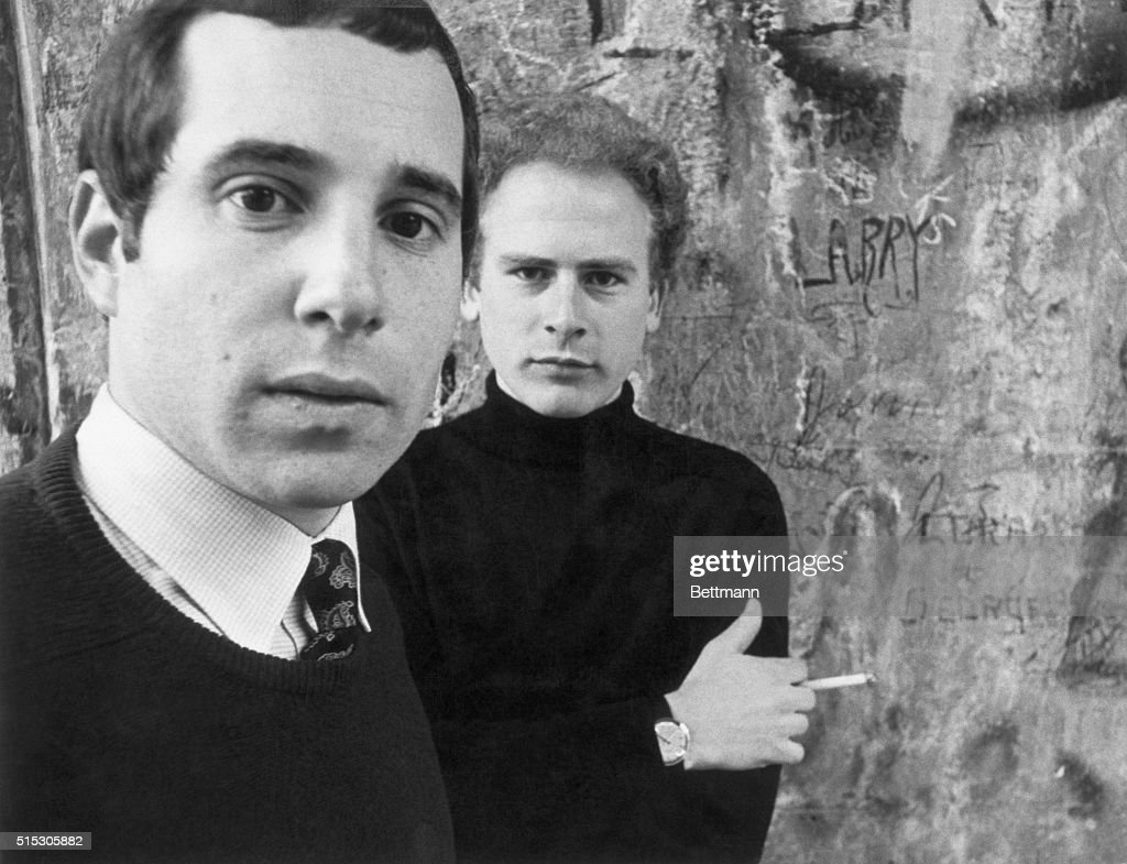 Picture shows singing artists, Paul Simon(foreground) and Art Garfunkel, who will be appearing on, 'The Smothers Brothers Comedy Hour'